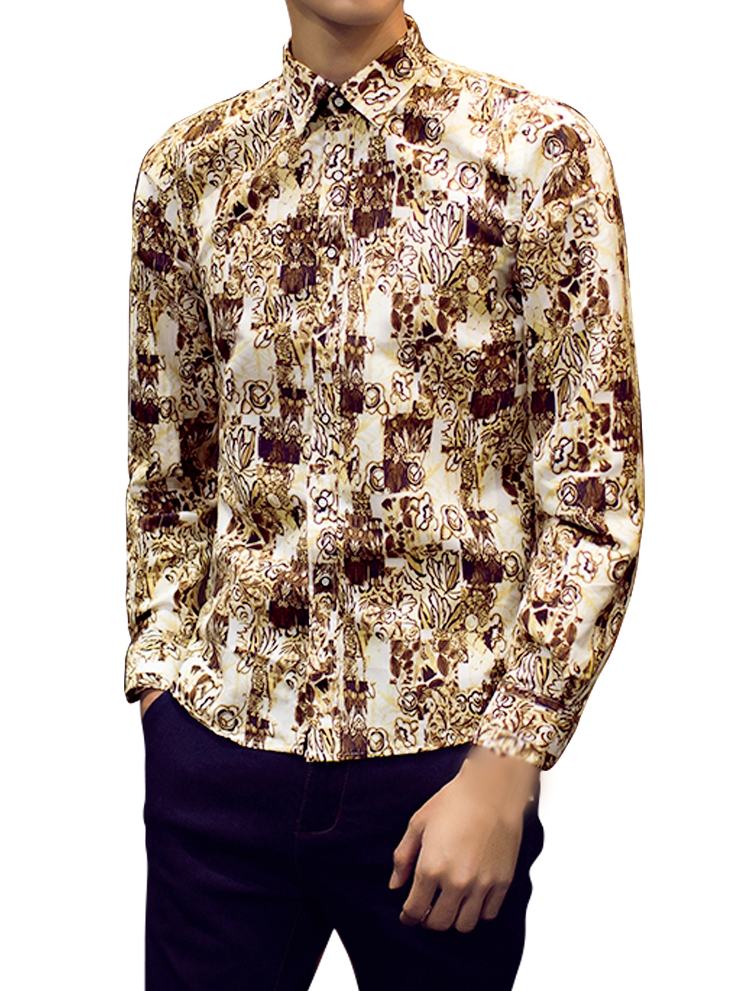 Men Flower Novelty Pattern Round Hem Long Sleeves Shirts Beige M