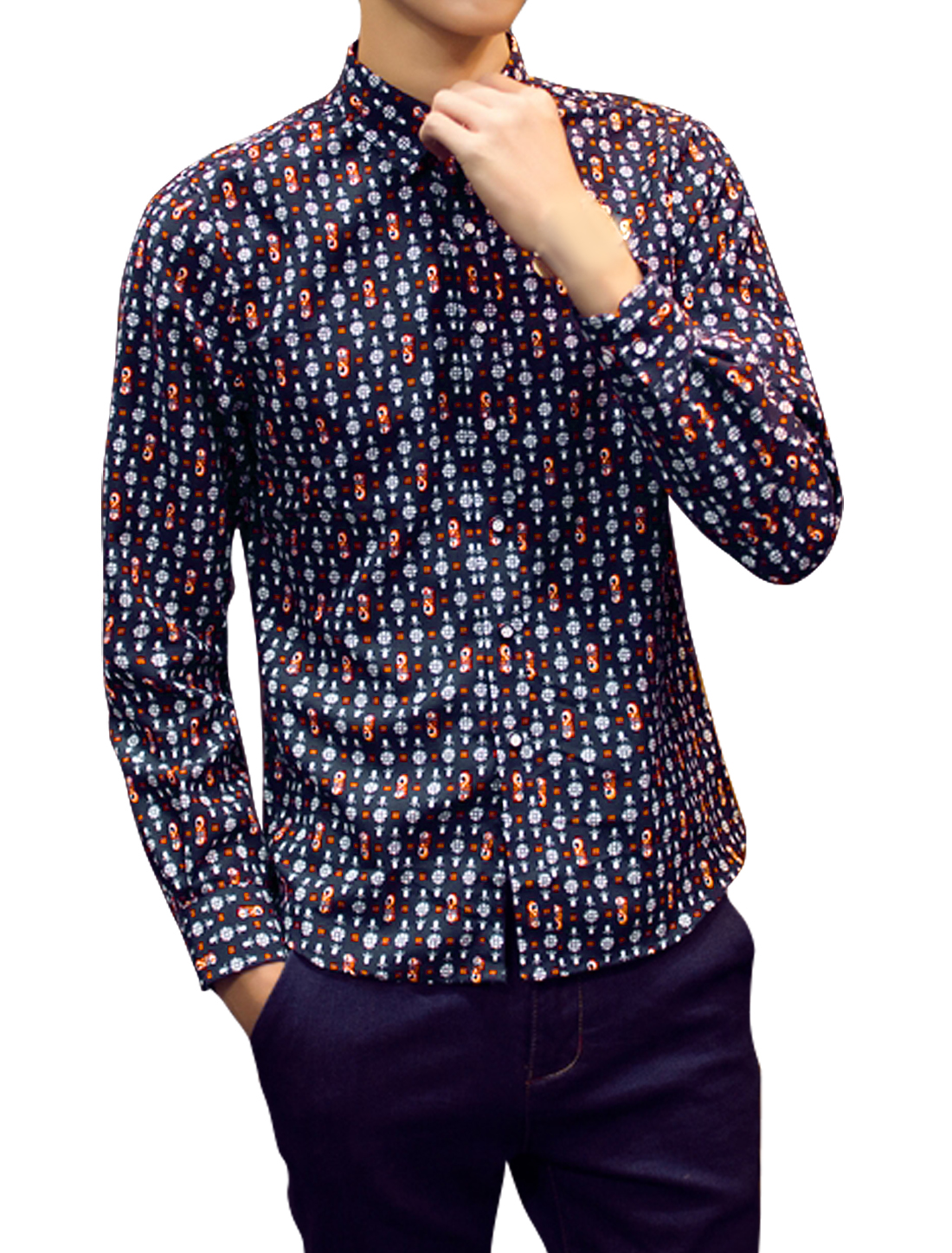 Men Floral Novelty Prints Slim Fit Single Breasted Shirts Blue S