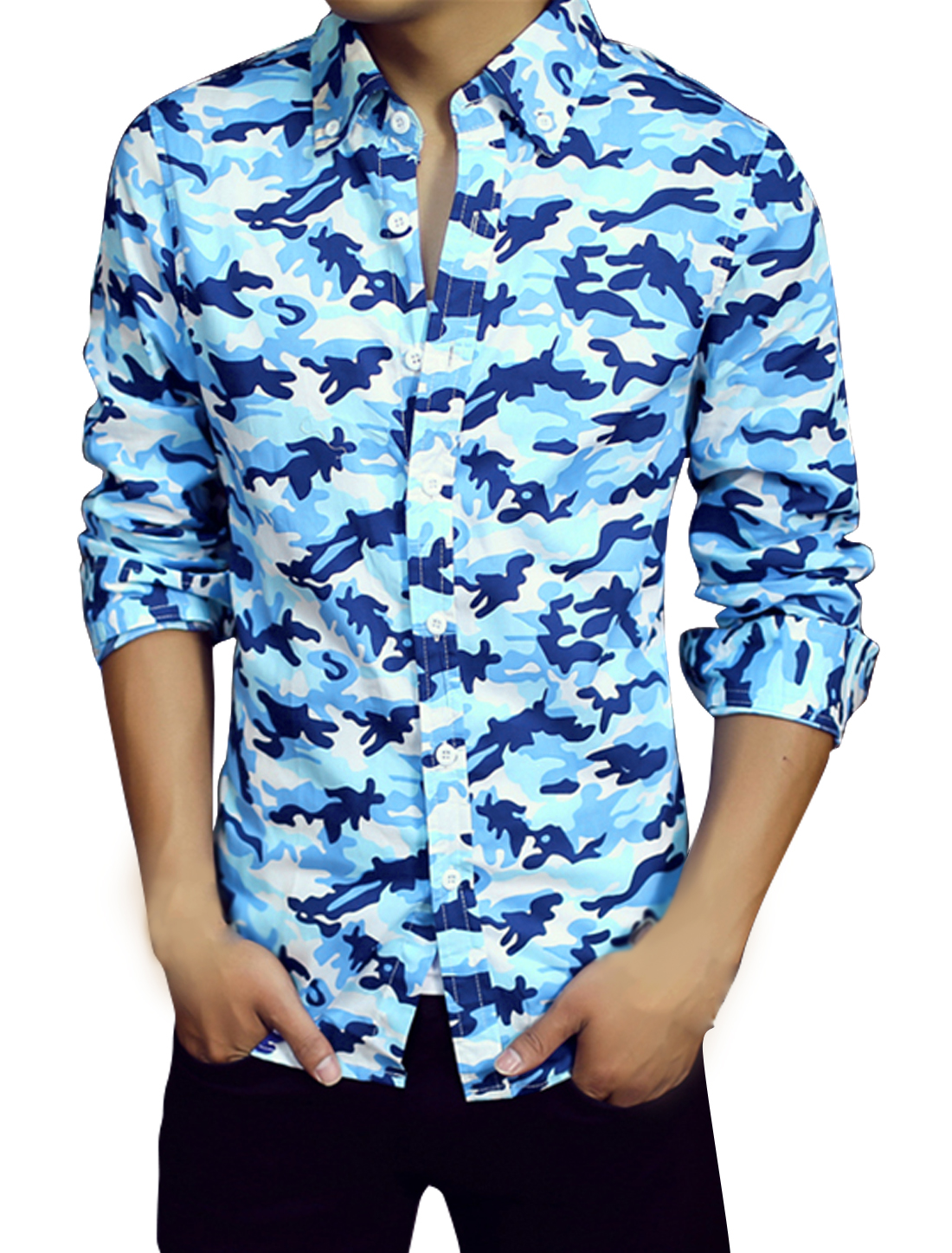 Men Long Sleeves Camouflage Pattern Point Collar Slim Fit Shirts Blue M