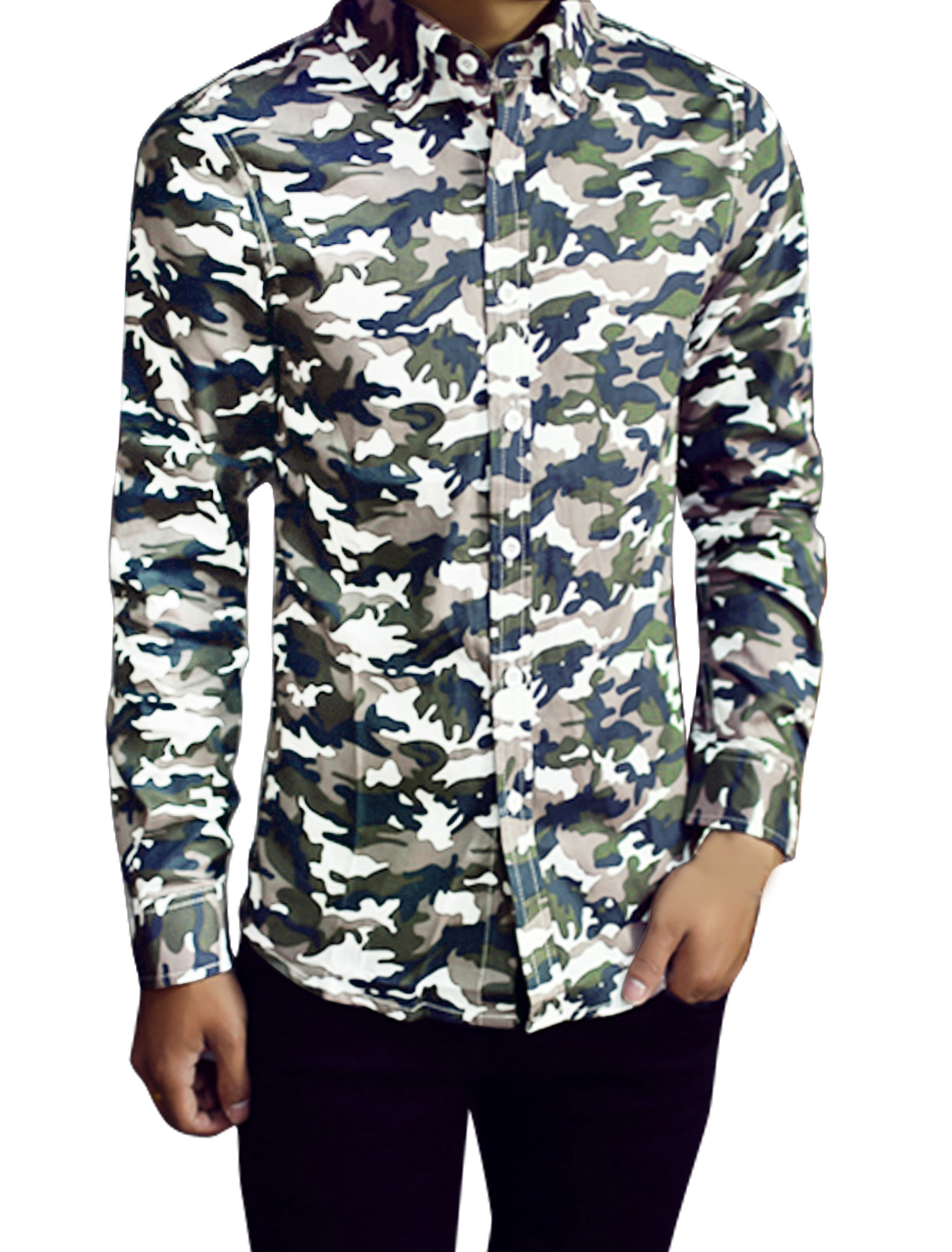 Men Point Collar Button Closure Camo Prints Long Sleeves Shirts Dark Blue M