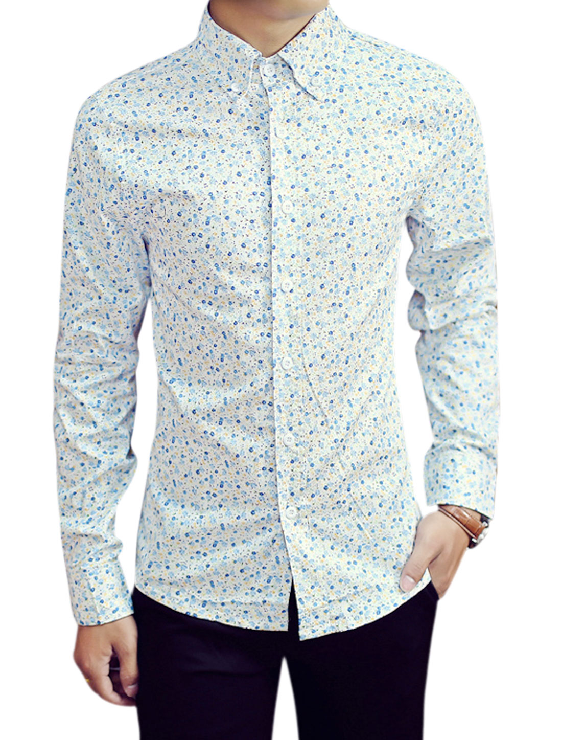 Men Floral Pattern Point Collar Long Sleeves Button Front Shirts White M