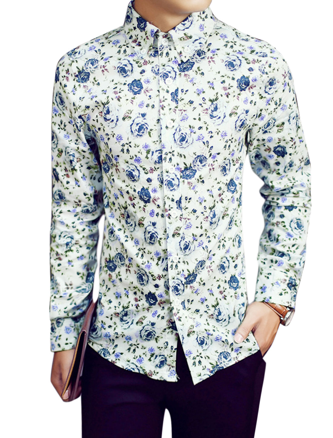 Men Leisure Long Sleeves Floral Prints Button Down Collared Shirts White S