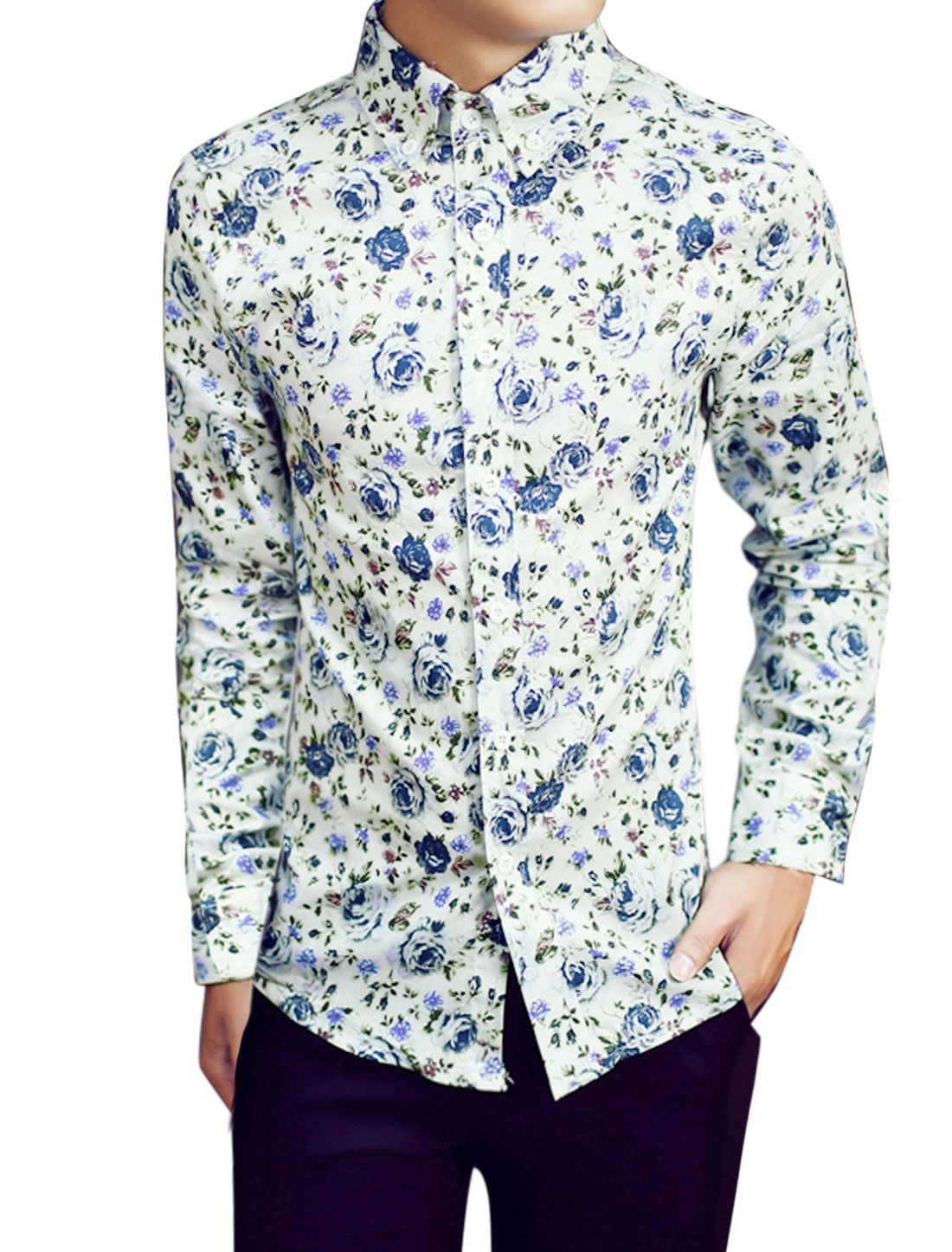 Men Button Down Long-sleeved Floral Pattern Casual Tops White M