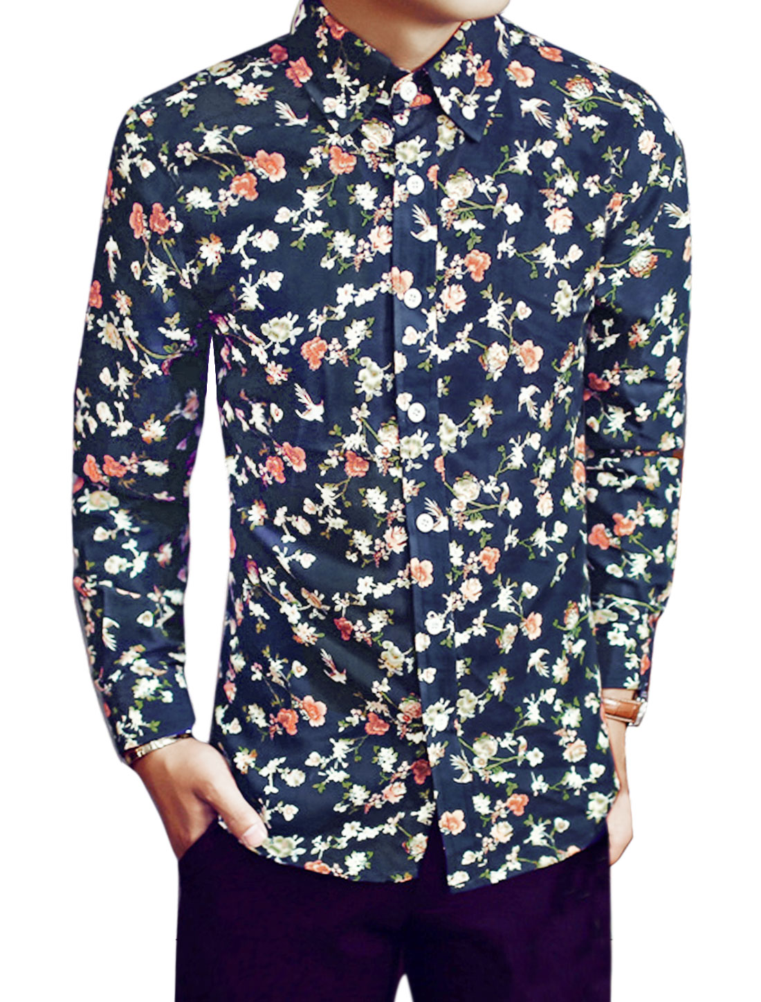 Men Point Collar Floral Print Single Breasted Long Sleeves Shirts Blue S