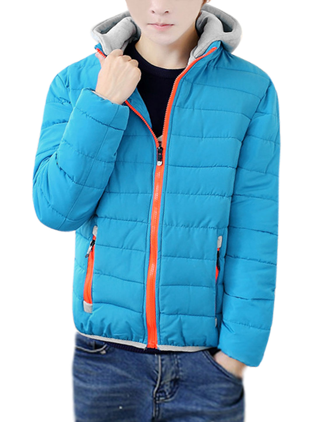 Men Detachable Hood Stand Collar Zip Up Padded Coat Blue S