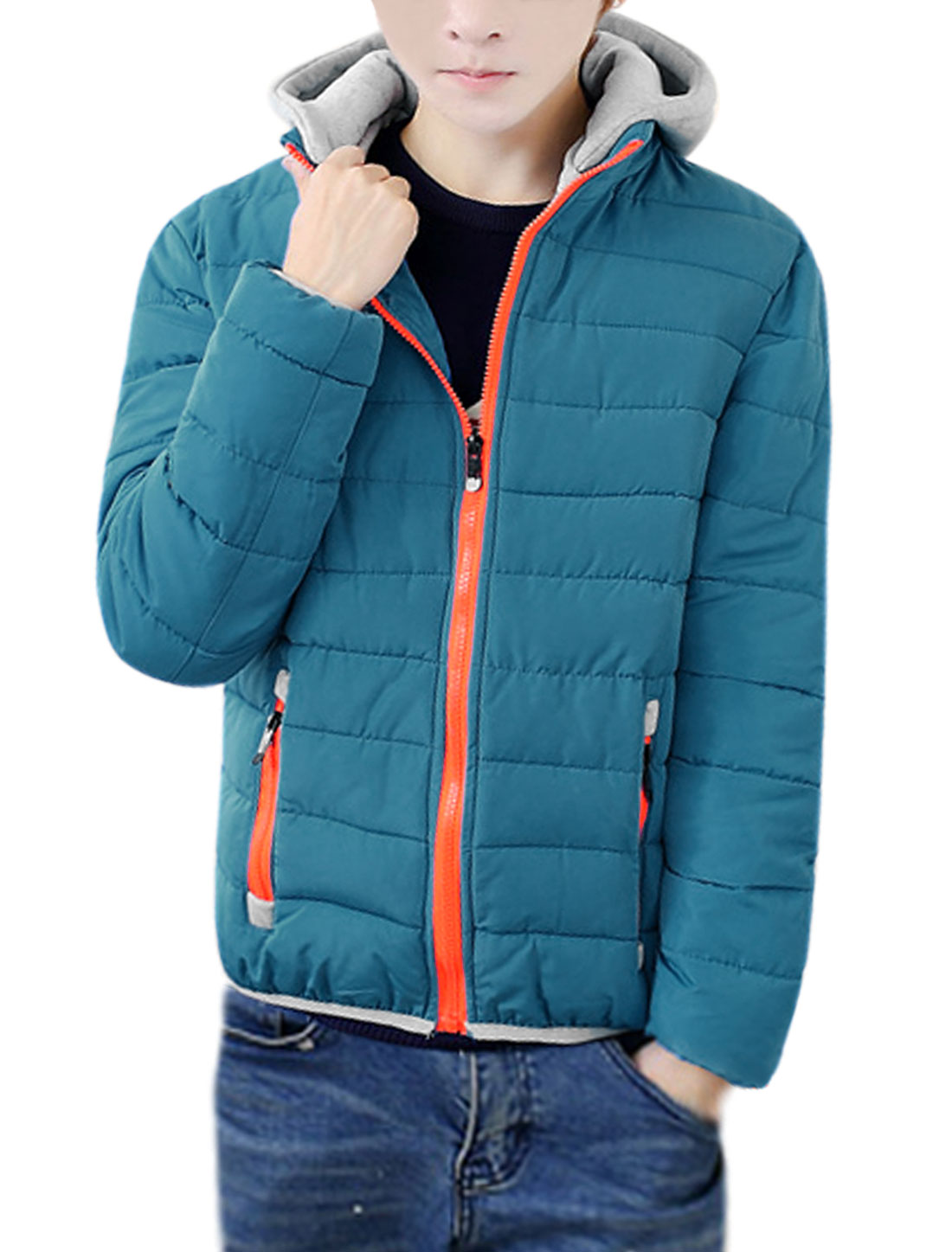 Men Hooded Stand Collar Zip Closure Quilted Coat Turquoise S