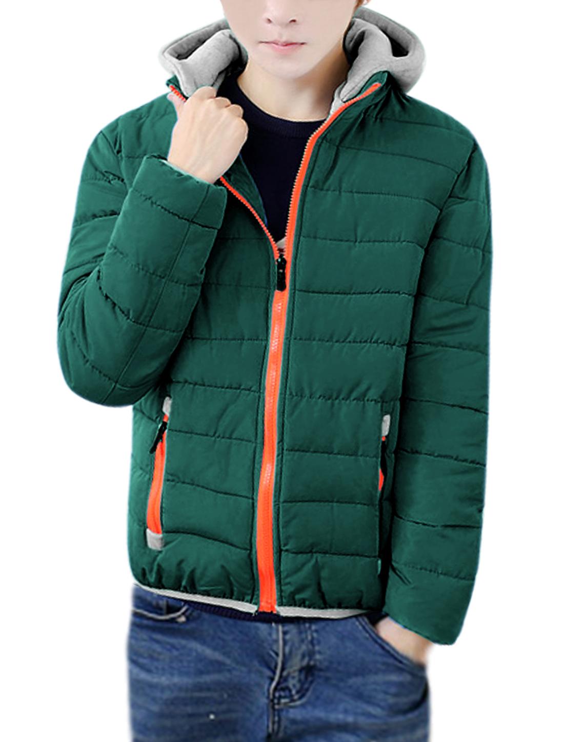 Men Stand Collar Elastic Edge Hooded Padded Coat Green S