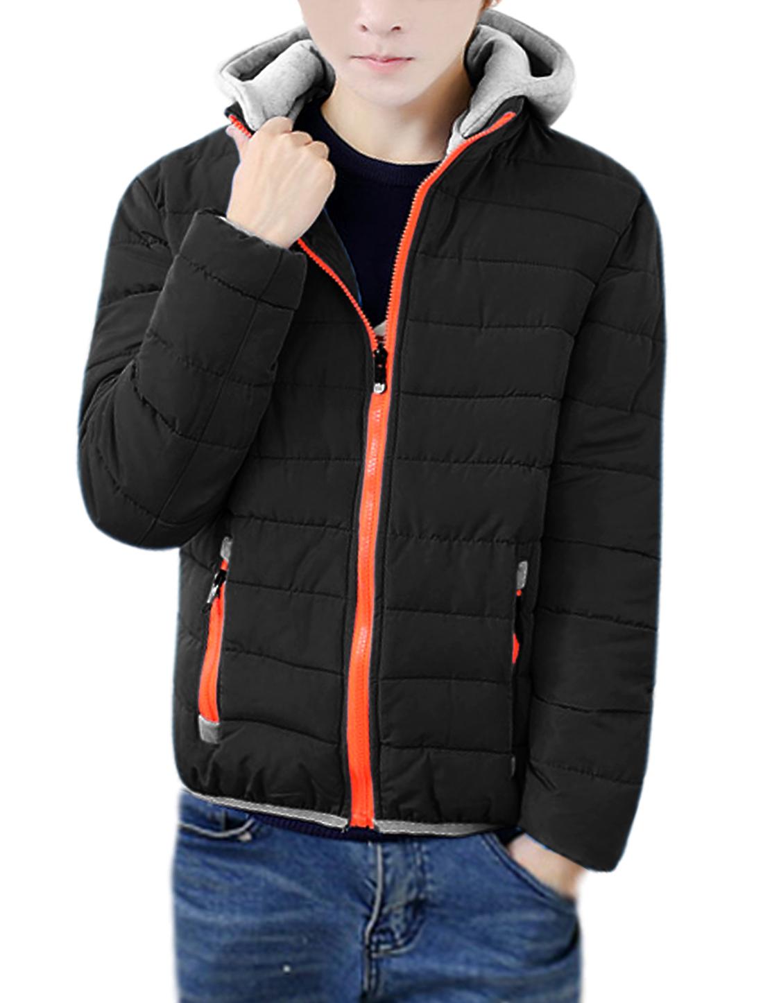 Men Removable Hood Elastic Hem Quilted Down Coat Black M