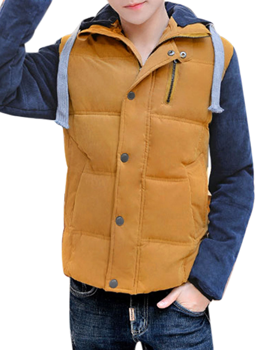 Men Drawstring Hood Color Block Corduroy Panel Quilted Padded Coat Ochre S