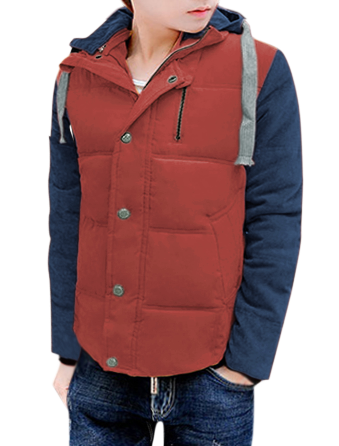 Men Snap Button Closed Stand Collar Color Block Quilted Hooded Coat Red S