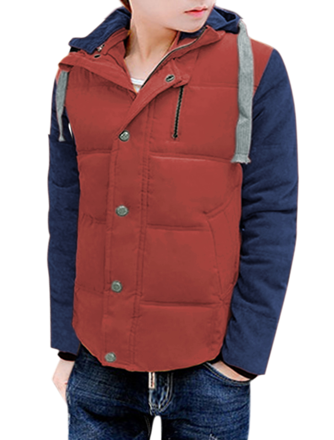Men Hooded Contrast Color Corduroy Panel Zip Closed Padded Jackets Red M