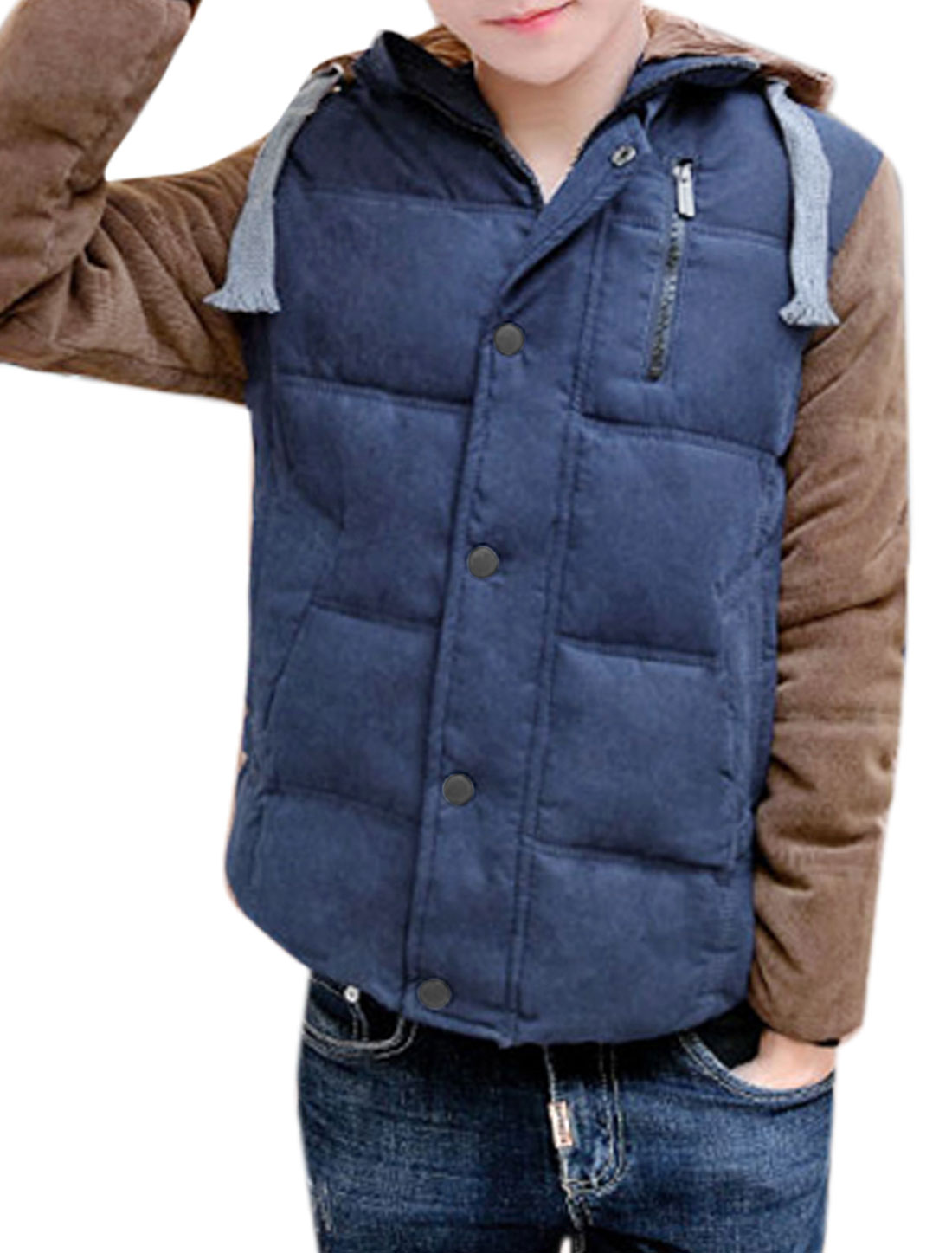 Men Stand Collar Zip Closure Corduroy Panel Two Pockets Padded Coat Blue M