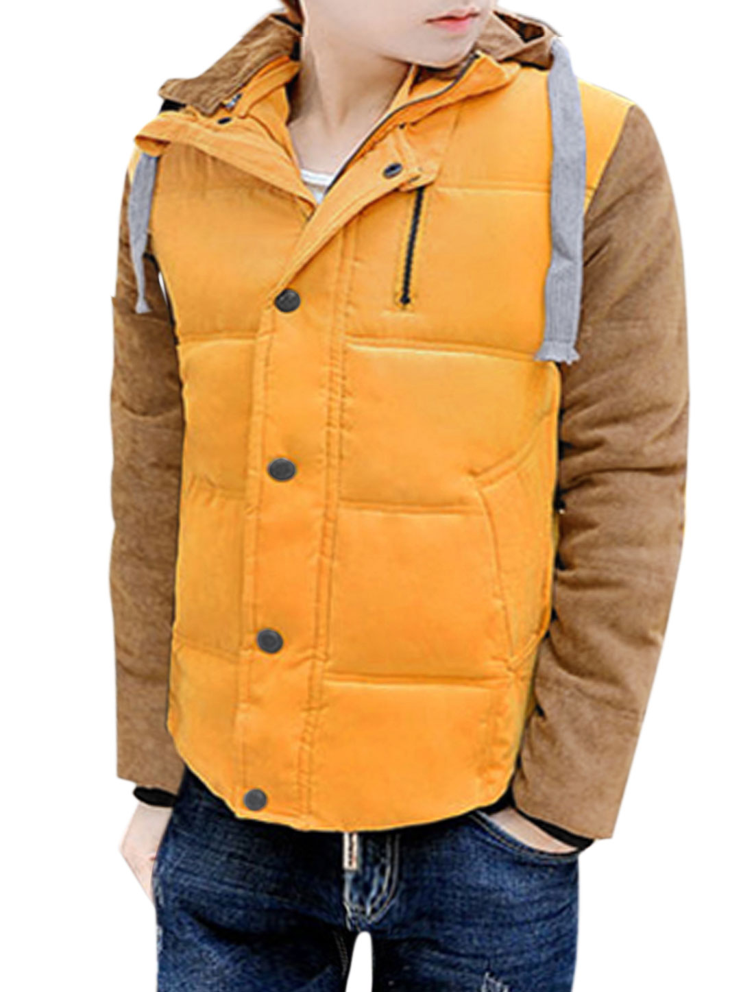 Men Button Up Color Block Slant Pockets Zippered Quilted Jacket Yellow S