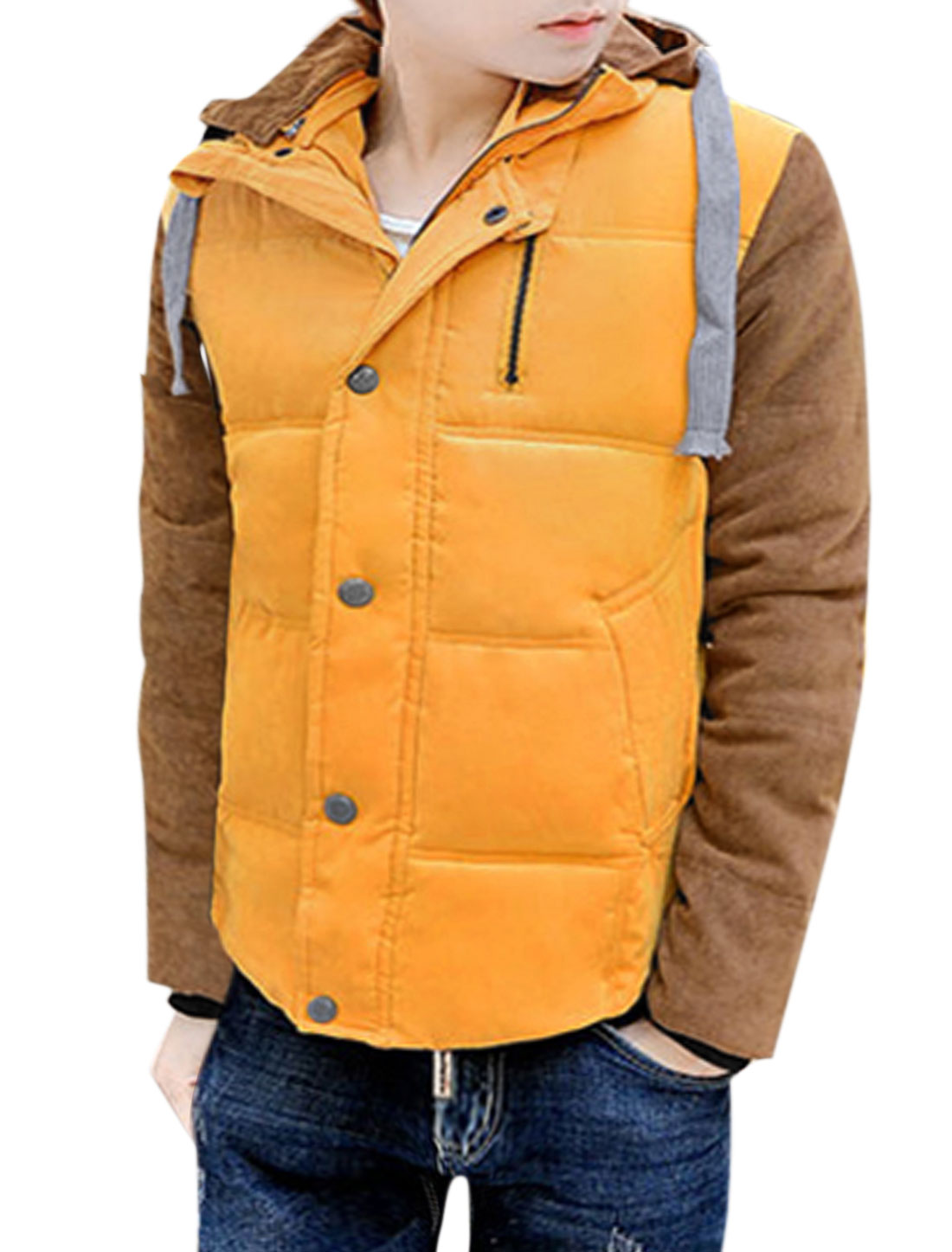 Men Hooded Casual Quilted Color Block Button Closure Padded Coat Yellow M