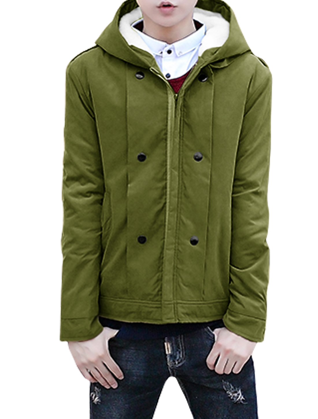 Men Hooded Zip Up Buttons Decor Plush Lining Coat Green S