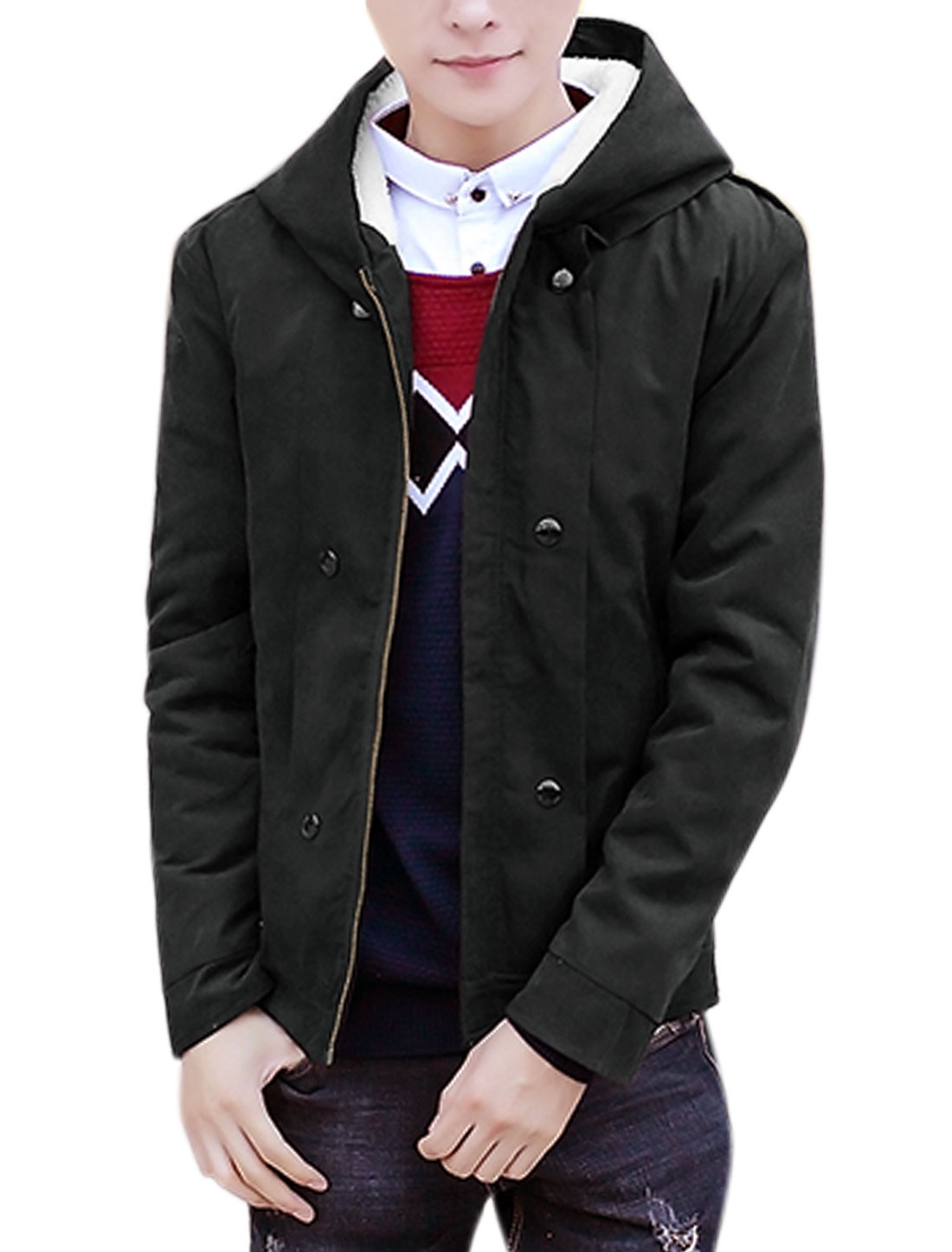 Men Zip Closure Front Plush Lining Hooded Coat Black M