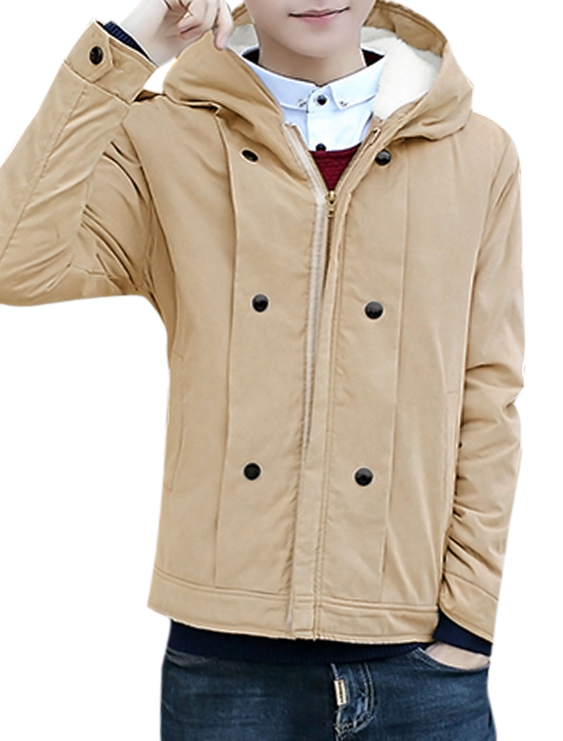 Men Buttons Embellished Plush Lining Hooded Jacket Beige S