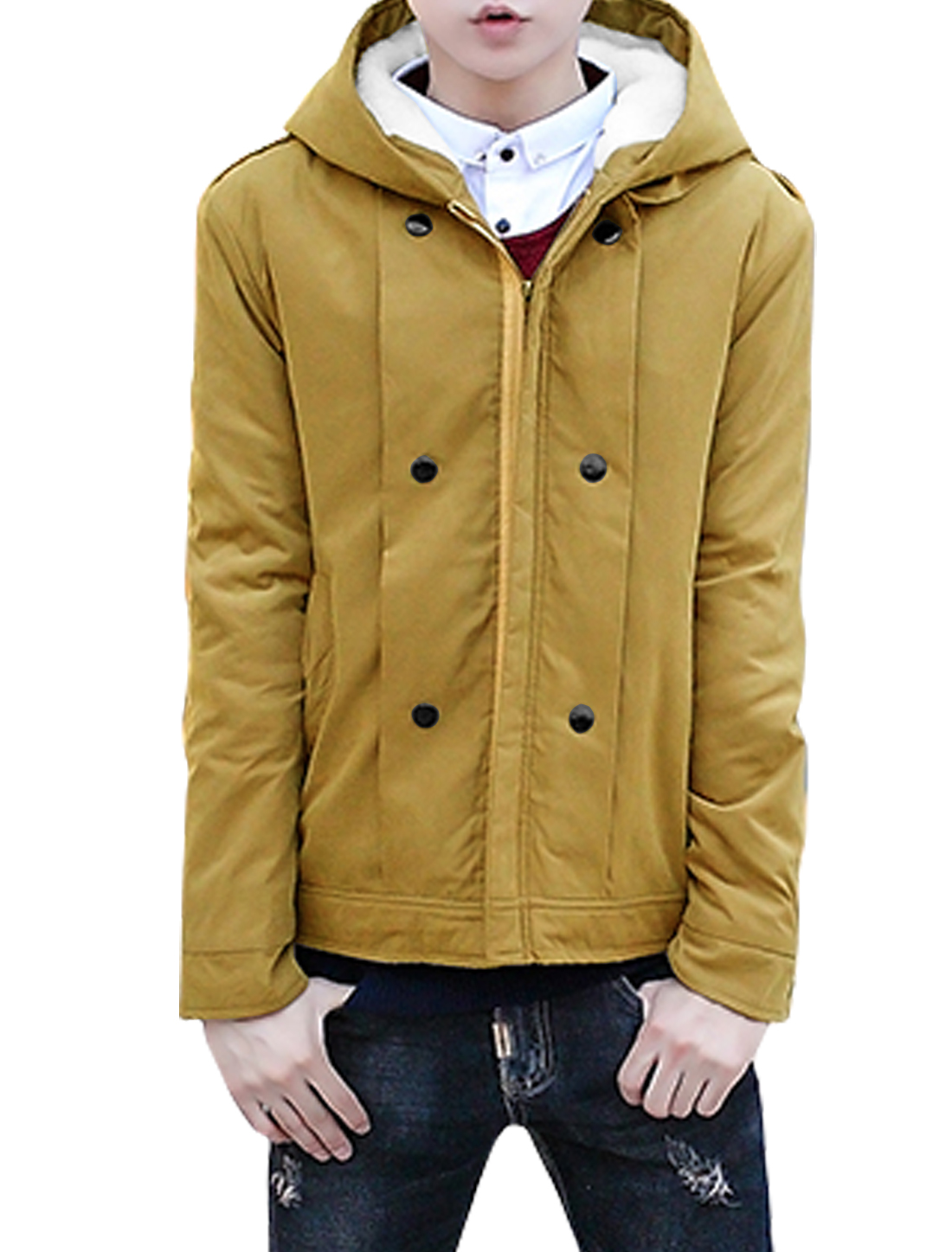 Men Soft Lining Hooded Zipper Front Basic Coat Yellow M