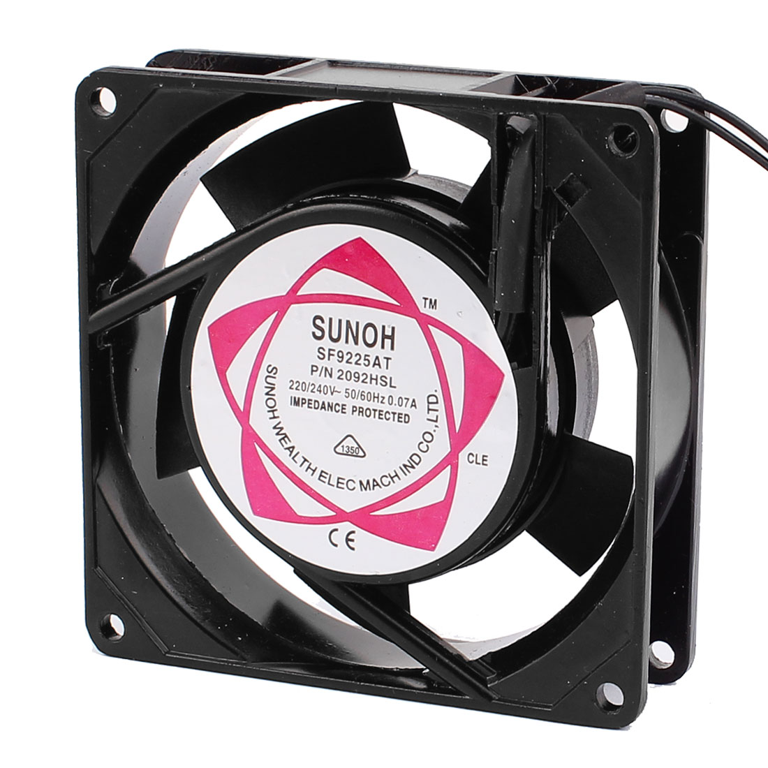 92x92x25mm 5 Vanes Metal Frame Axial Flow Cooling Fan AC 220V/240V 0.07A
