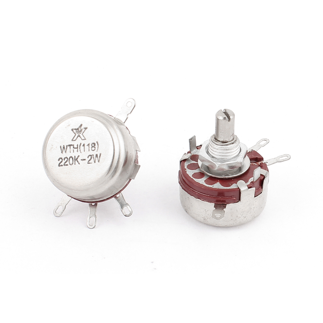 WTH(118) 220K Ohm 2W 4 Terminals Rotary Taper Potentiometer 2pcs