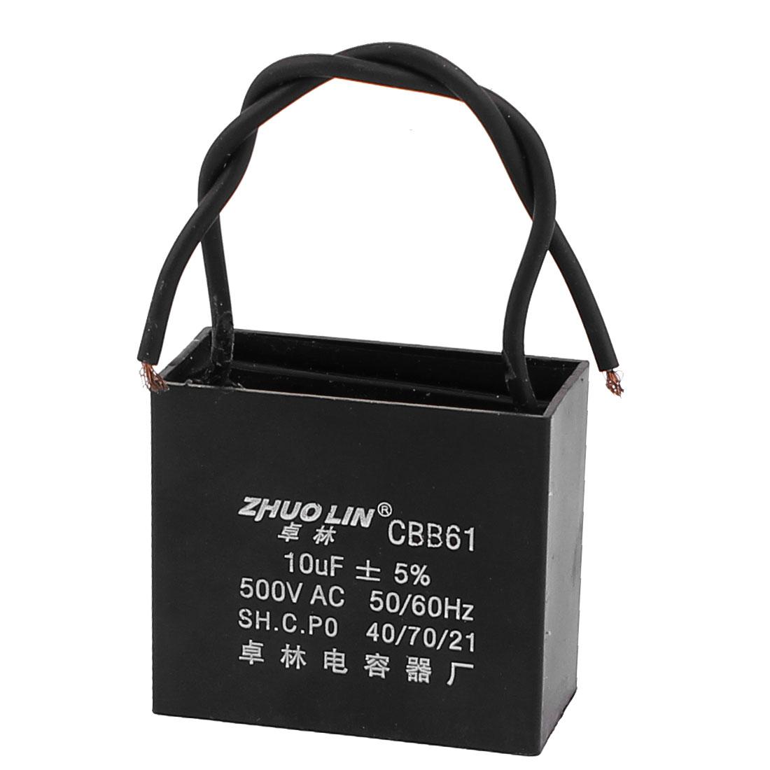 AC 500V 10uf 50/60Hz 2 Wire Lead Motor Run Fan Capacitor CBB61 Black