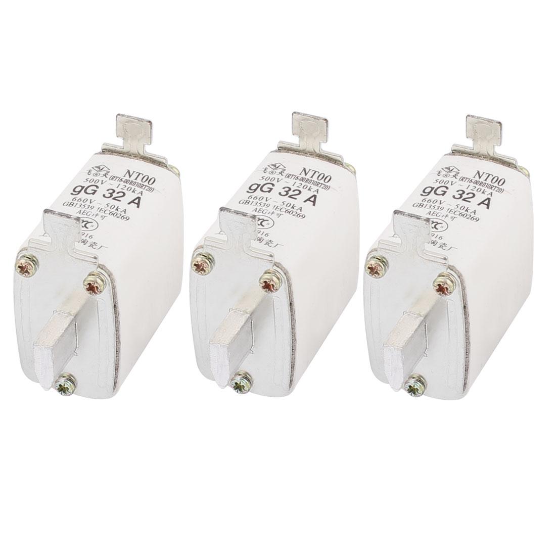 500V 120kA 660V 50kA gG 32A Contact Ceramic Fuse Link NT00 3pcs
