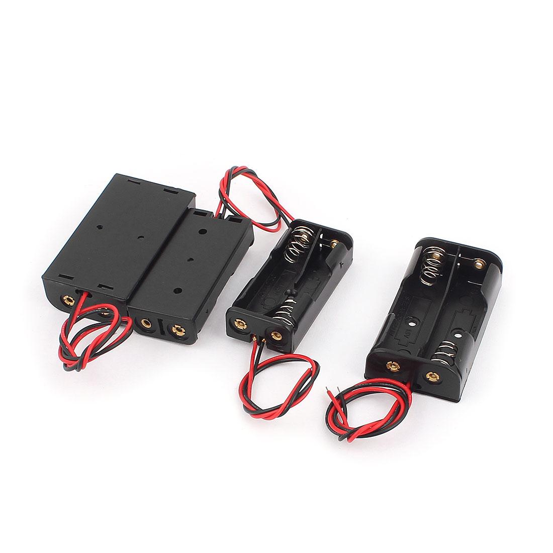 4Pcs Wire Lead 2x1.5V AAA 2x1.5V AA Battery Cell Case Holder Box Black
