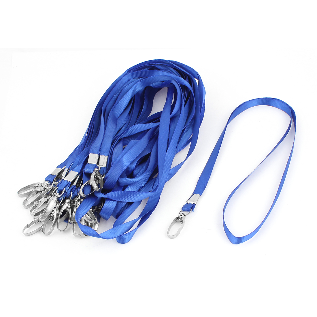 Metal Swivel Clip Office ID Name Card Badge Holder Neck Strap Lanyard Blue 24Pcs