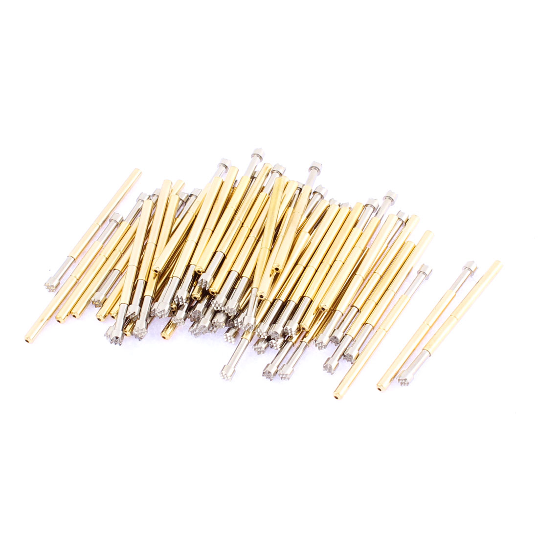 P125H 33mm Length Crown Tip Spring Loaded Contact Test Probe Pin Gold Tone 60Pcs