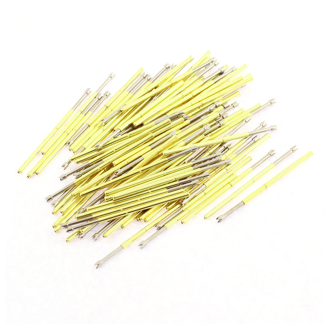 P100-Q2 33mm Long 4-Point Crown Tip Spring Loaded Contact Test Probe Pin 100Pcs