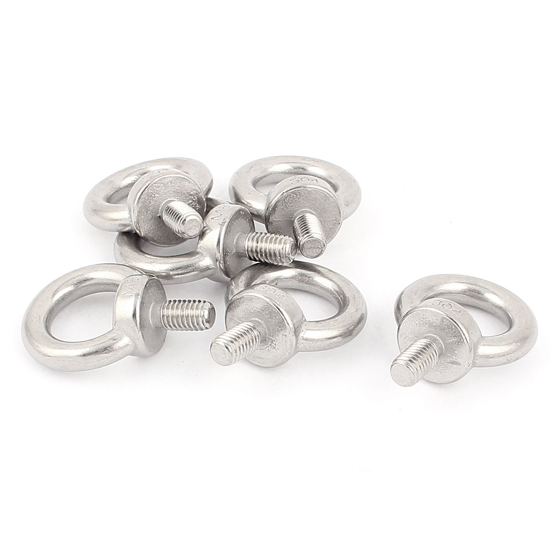 M8 x 12mm Thread Machinery Shoulder Lifting Eye Ring Bolt Silver Tone 6Pcs