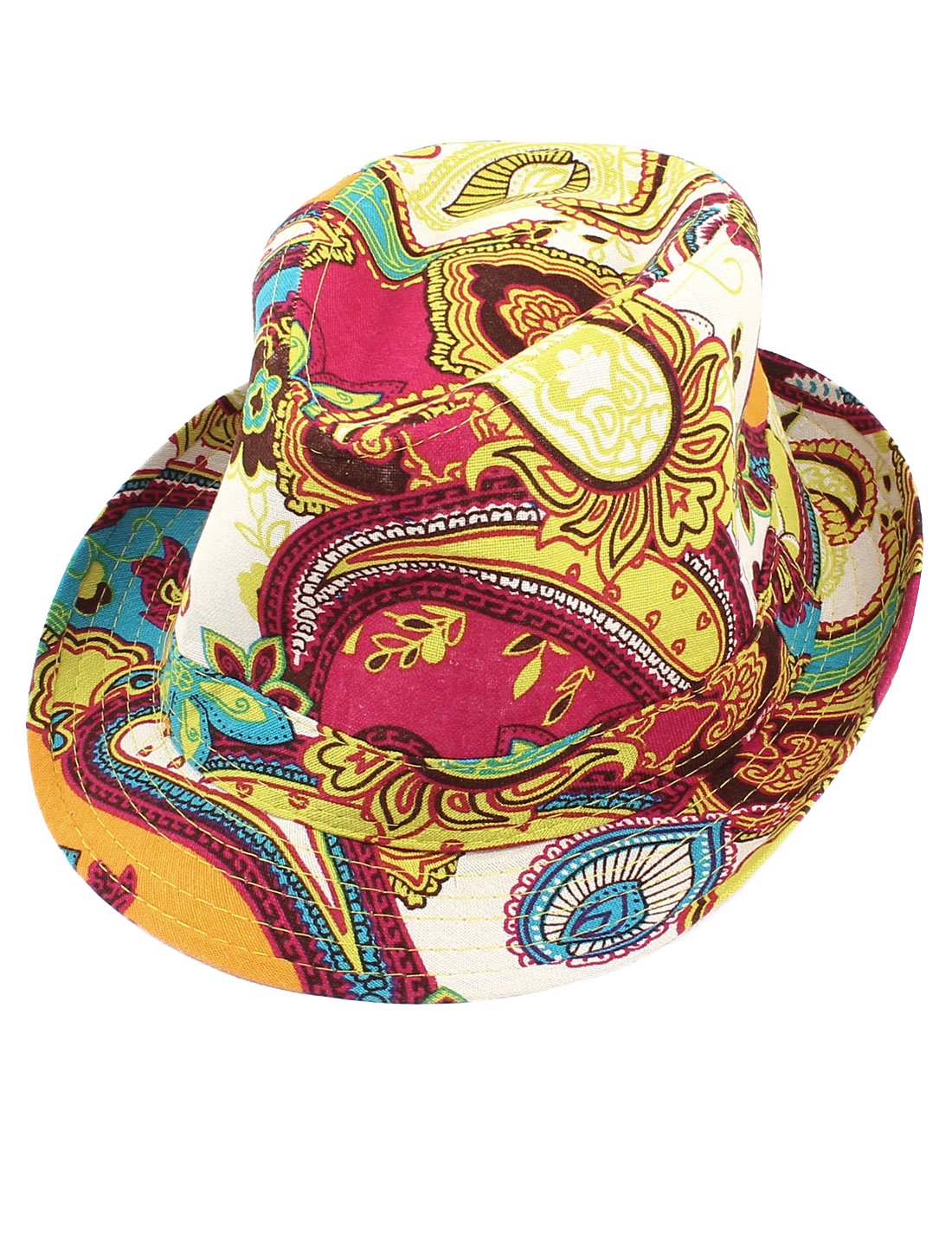 Men Woman Flower Paisley Pattern Fedora Upturn Brim Cap Sun Hat Yellow Fuchsia