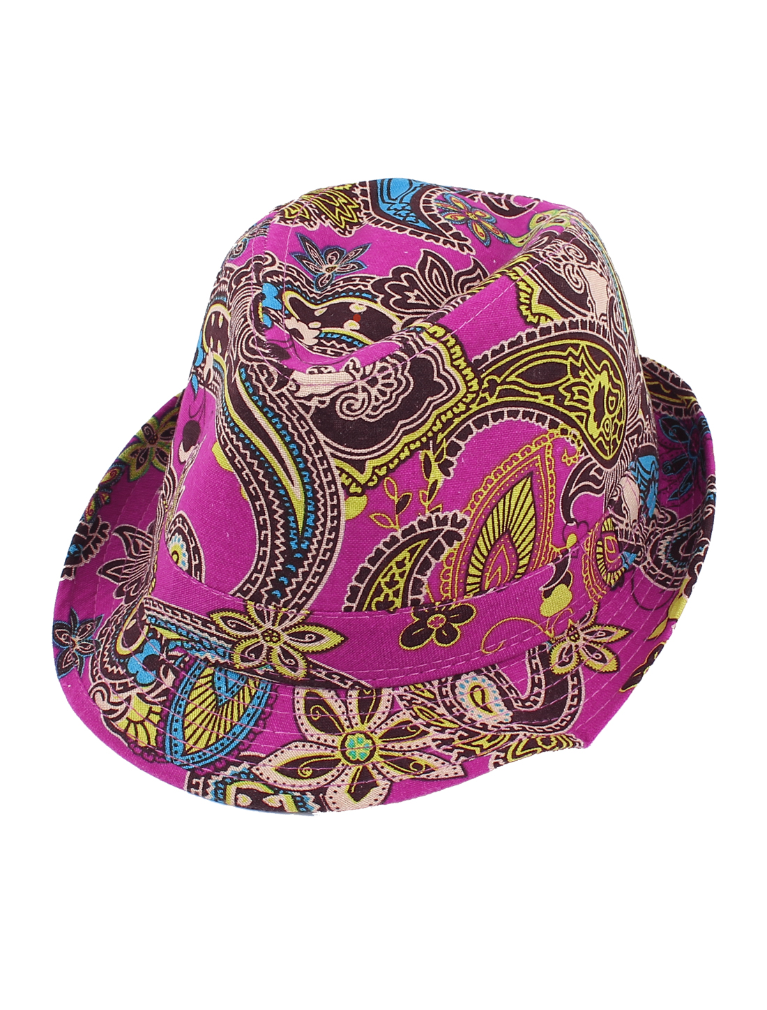 Men Women Flower Paisley Pattern Fedora Upturn Short Brim Cap Sun Hat Fuchsia