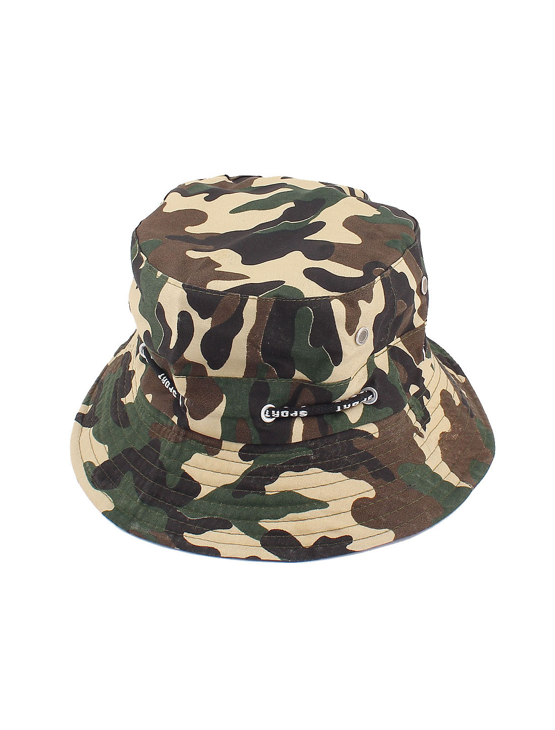 Men Women Unisex Camouflage Pattern Adjustable Strap Fishing Hiking Bucket Cap Hat Army Green