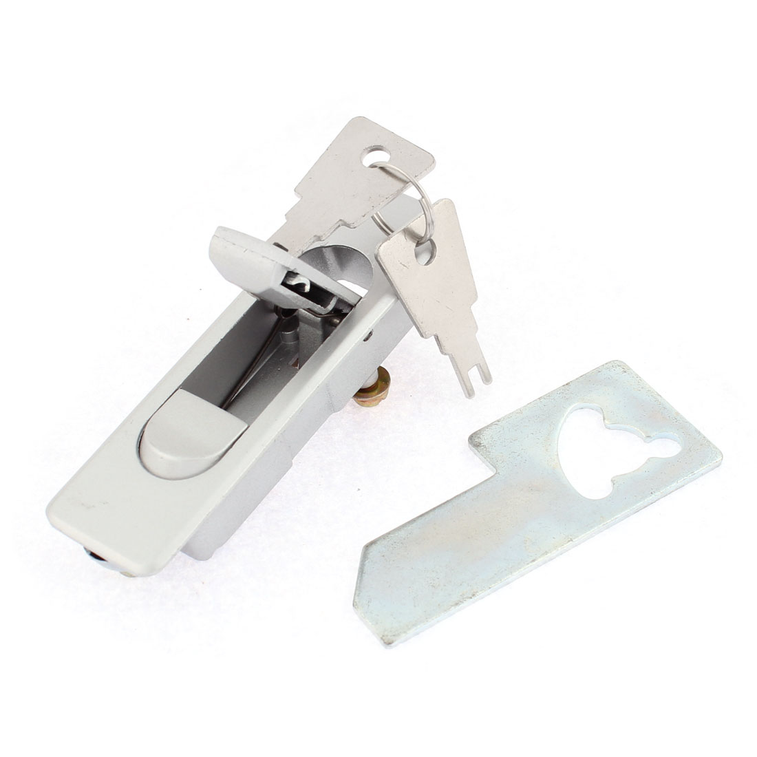 Electric Cabinet Door Push Button Plane Type Cam Lock Silver Tone w Keys