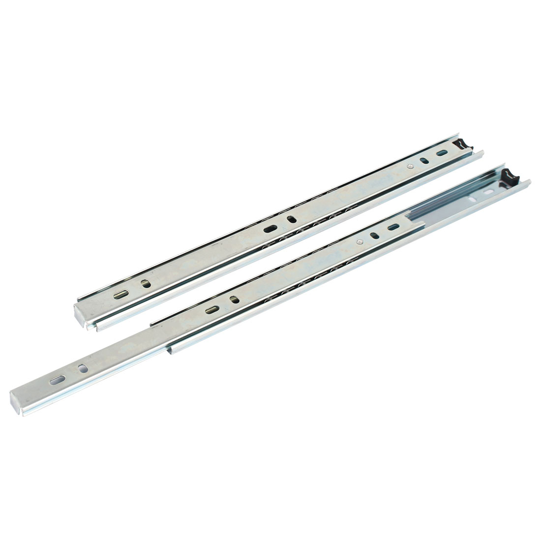 "Ball Bearing 11.4"" 290mm Length Drawer Slide Track Rail Silver Tone 2Pcs"