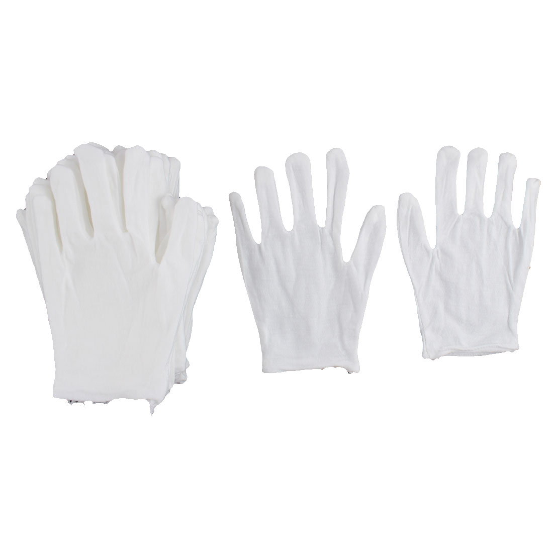 Working Labor Work Stretchy Cuff Full Finger Protective Gloves White 12Pcs