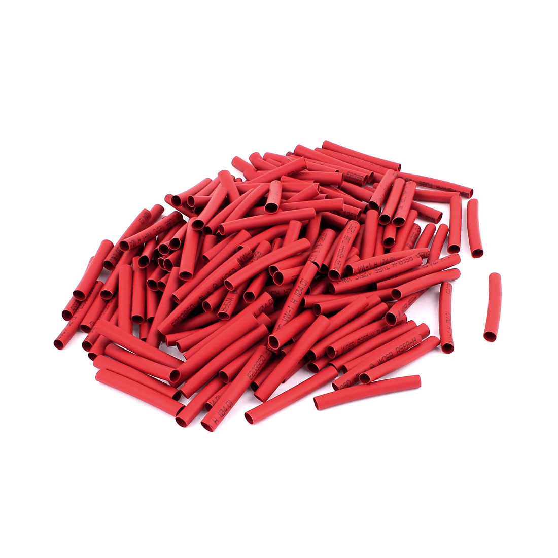 40mm Length Polyolefin Heat Shrink Wrap Tubing Electric Cable Sleeve Red 200Pcs