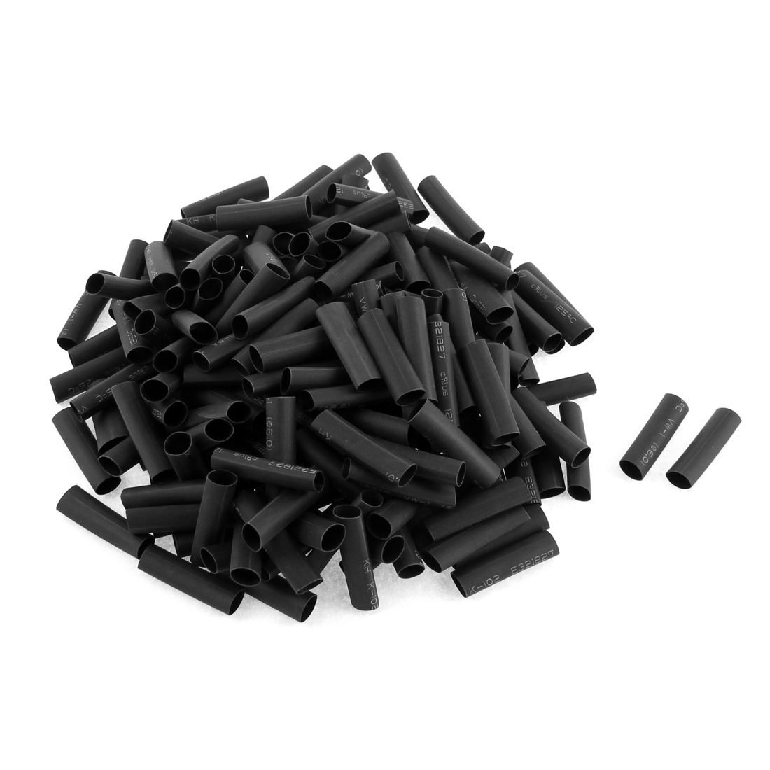 Electrical Connection Cable Sleeve 30mm Length Heat Shrink Tubing Black 200Pcs