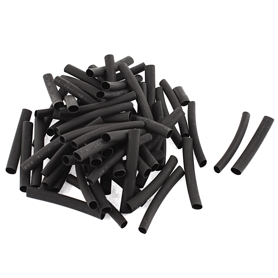 Electrical Connection Cable Sleeve 50mm Length Heat Shrink Tubing Black 63Pcs