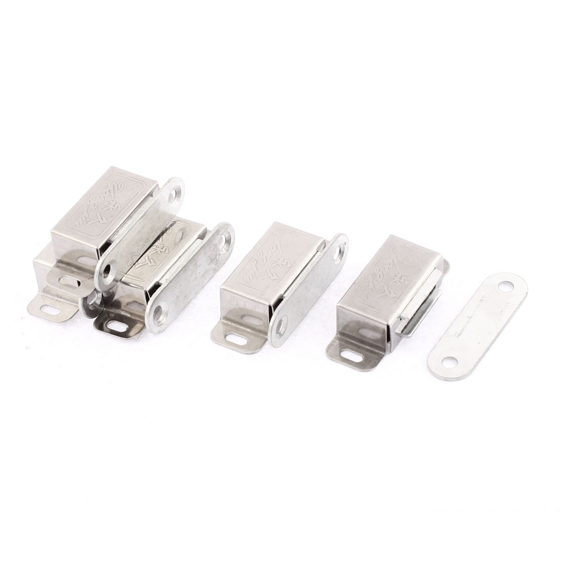 Door Wardrobe Cupboard Cabinet 46mm Length Magnetic Latch Catch Silver Tone 5Pcs
