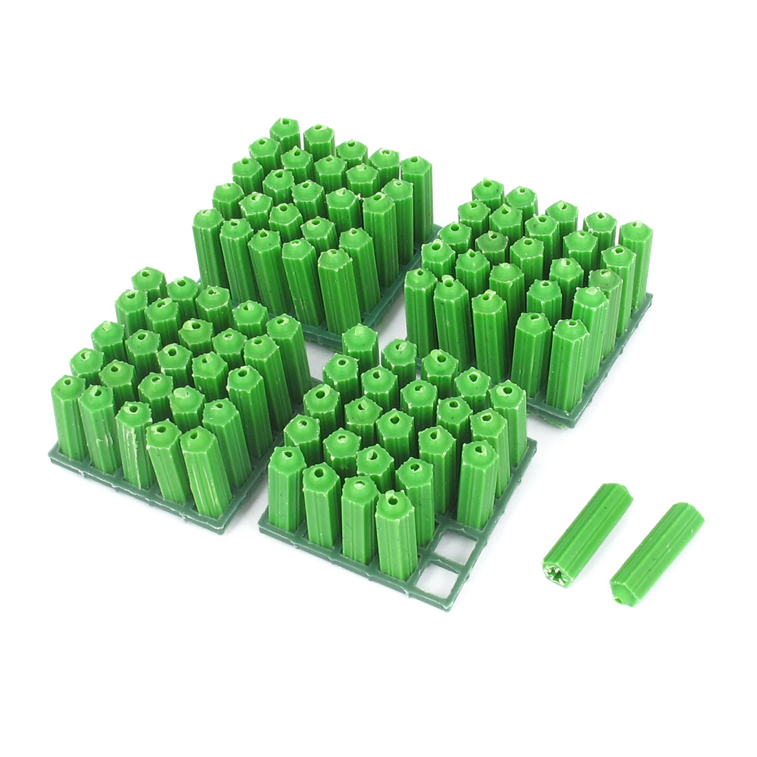 8mmx27mm Masonry Fixing Nonslip Plastic Wall Connector Green 100pcs