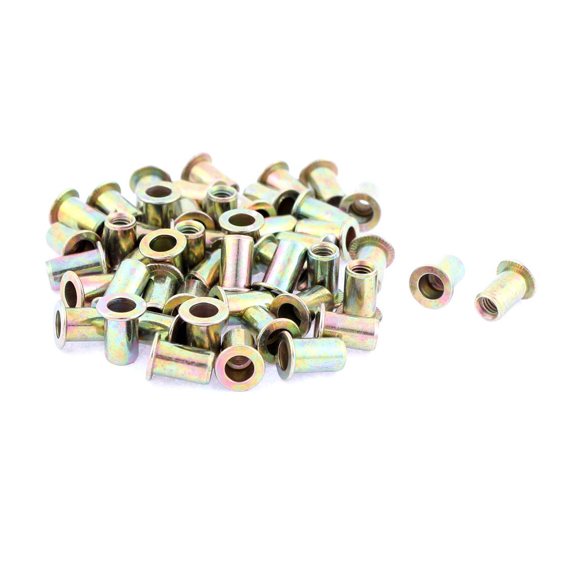 M4 Thread Dia Flat Head Zinc Plated Rivet Blind Nut Nutsert Brass Tone 50pcs
