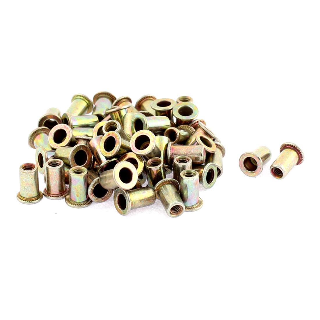 M3 Thread Dia Flat Head Zinc Plated Rivet Blind Nut Nutsert Brass Tone 50pcs