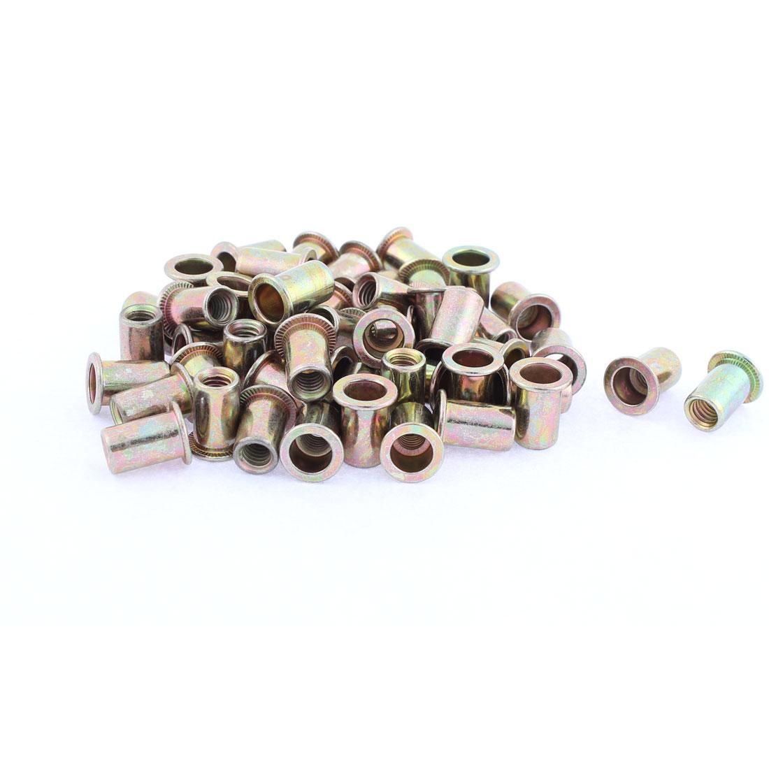 M6 Thread Dia Flat Head Zinc Plated Rivet Blind Nut Nutsert Brass Tone 50pcs