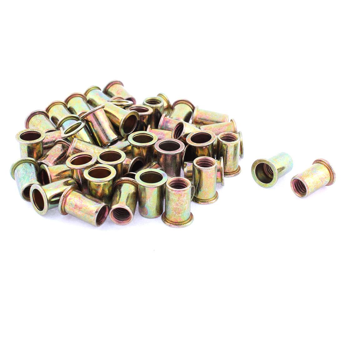 M10 Thread Dia Flat Head Zinc Plated Rivet Blind Nut Nutsert Brass Tone 50pcs
