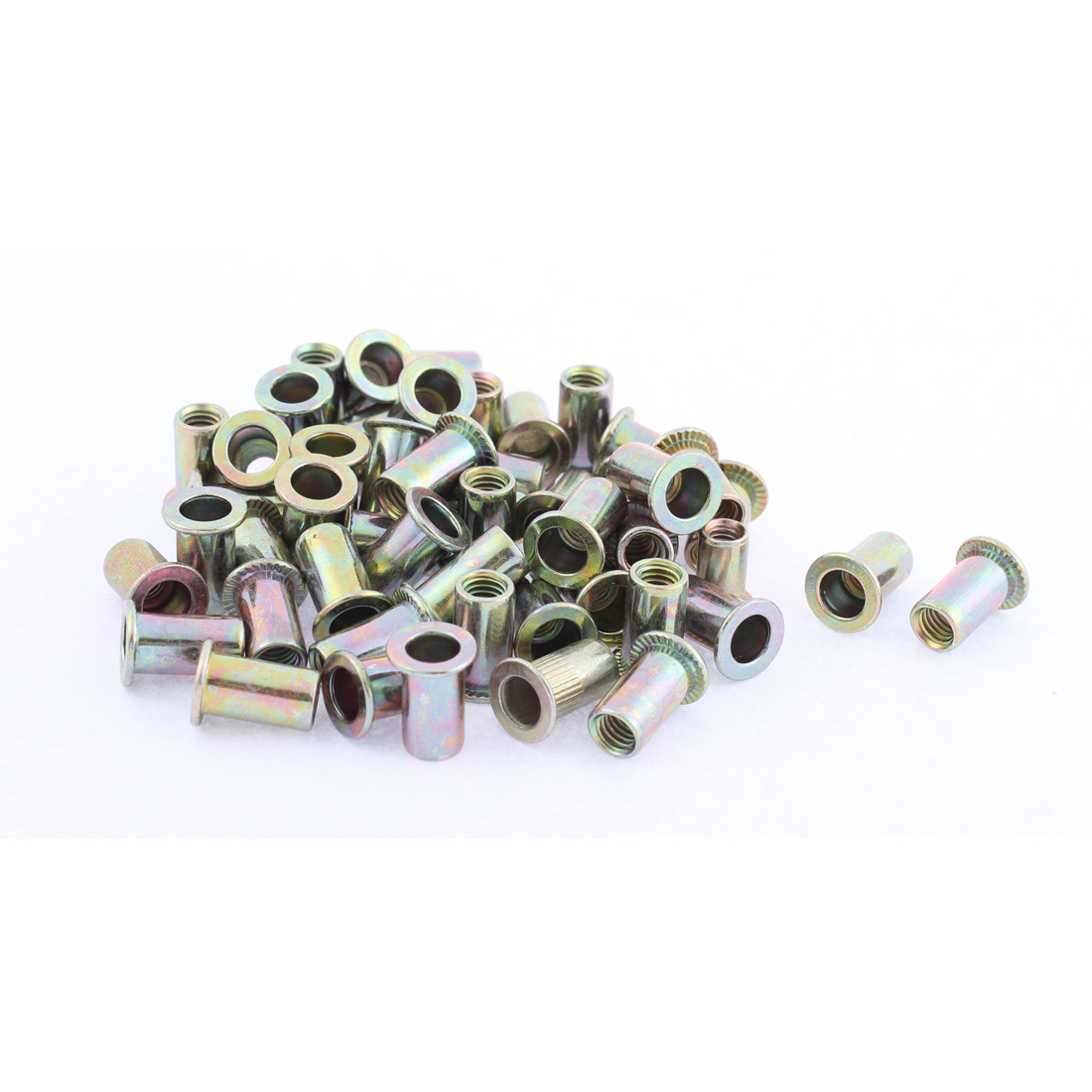 M5 Thread Dia Flat Head Zinc Plated Rivet Blind Nut Nutsert Brass Tone 50pcs
