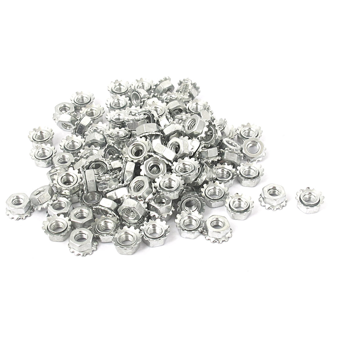M3 Thread Dia Zinc Plated External Tooth Locknuts Kep Nut Silver Tone 100pcs