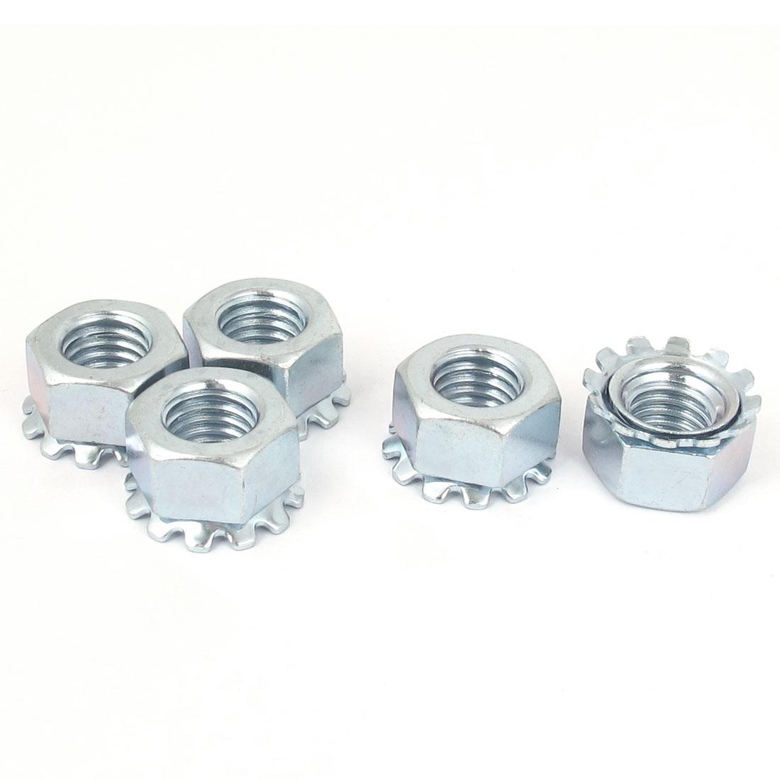 M12 Thread Dia Zinc Plated External Tooth Locknuts Kep Nut Silver Tone 5pcs