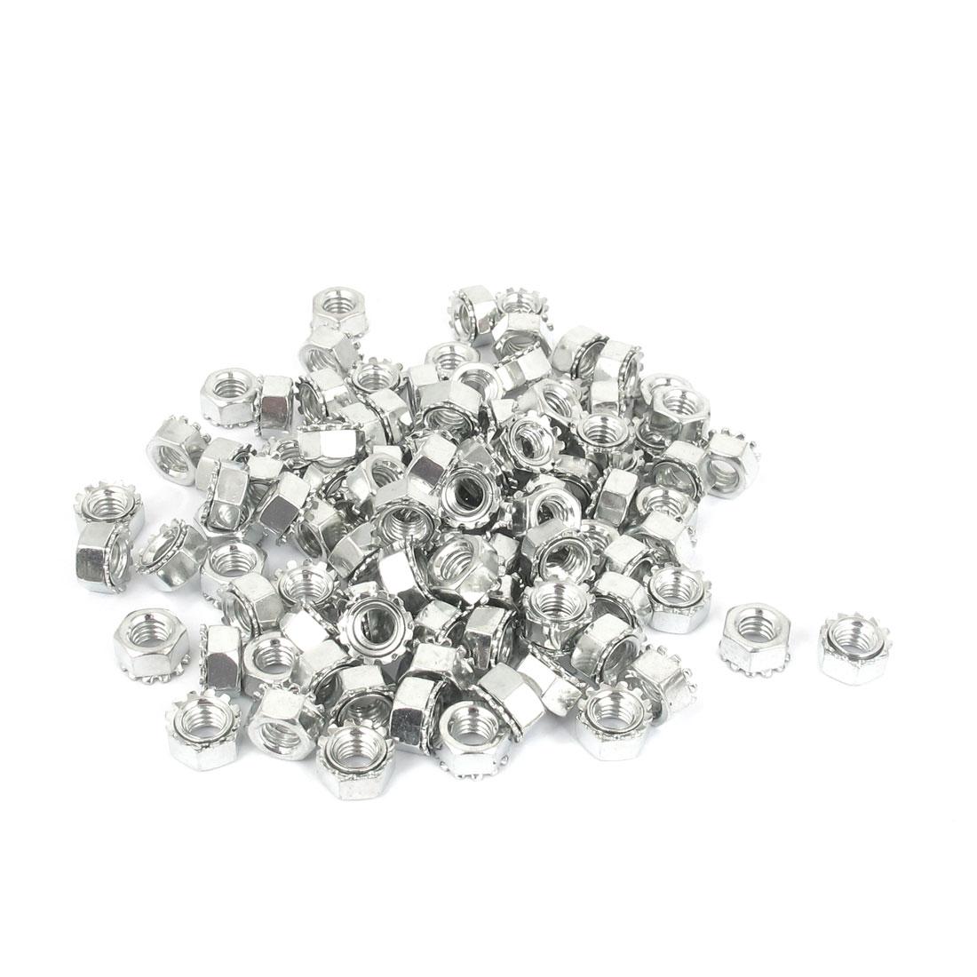 M6 Thread Dia Zinc Plated External Tooth Locknuts Kep Nut Silver Tone 100pcs